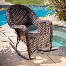 Outdoor Patio Furniture Luxury Brown Wicker Rocking Chair