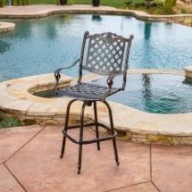 Outdoor Patio Furniture Cast Aluminum Swivel Bar Stool In