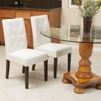 Set of 2 Elegant Ivory White Leather Dining Room Chairs w ...