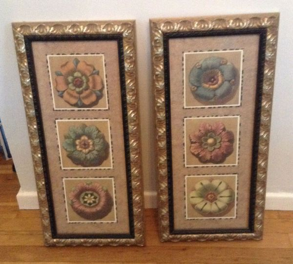 Pair Of Framed Prints Posters Flowers Custom Wood Frame