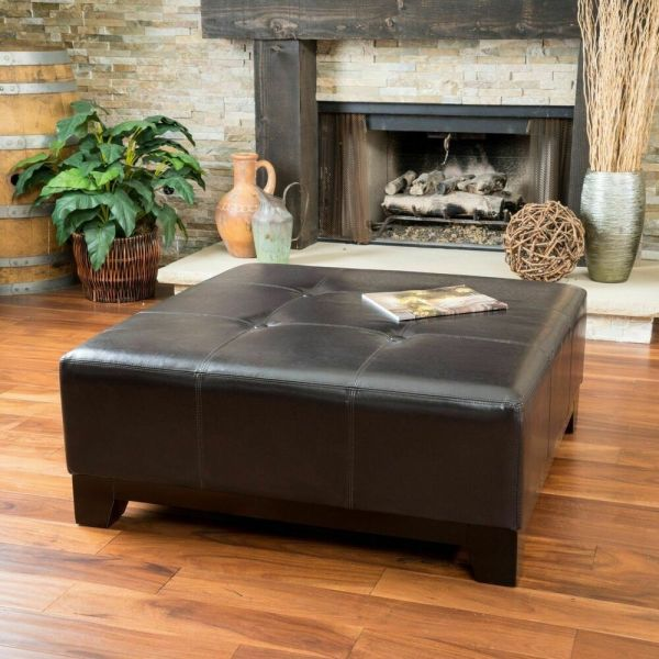 Elegant Espresso Brown Leather Ottoman Coffee Table With Button Tufted Accents