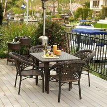 5-piece Set Outdoor Patio Furniture Brown -weather