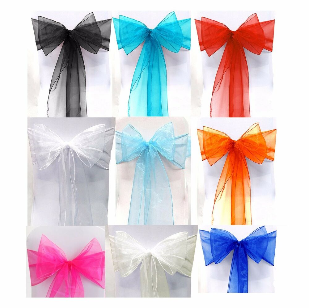 25 X ORGANZA BOWS CHAIR SASHES WEDDING ENGAGEMENT BLACK