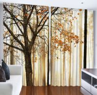 WINDOW CURTAIN PANEL Autumn Falling Leaves Fall Tree ...