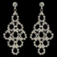 Bridal Silver Rhinestone Chandelier Earrings for