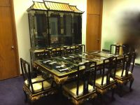 Oriental dining room set furniture black lacquer China ...