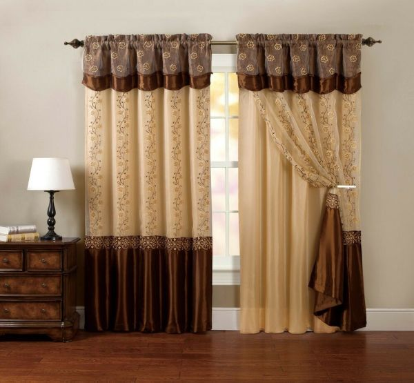 Piece Window Curtain Drapery Sheer Panel Chocolate Brown Attached Backing