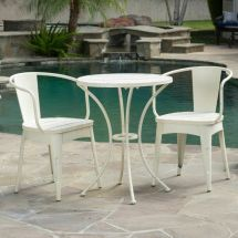 Rustic Modern Outdoor 3-piece -white Cast Bistro Set
