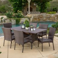 Outdoor Patio Furniture 7pc Multibrown All-Weather Wicker ...