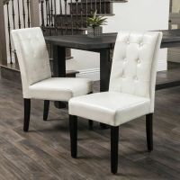 (Set of 2) Ivory Leather Dining Chairs w/ Tufted Button ...