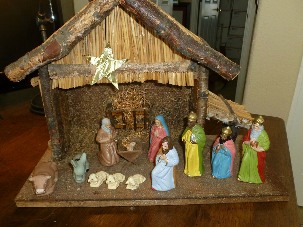 Vintage Nativity Scene Holy Family Shepherd Wisemen