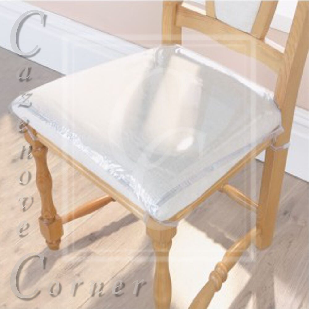 dining room chair seat cushion covers exercise upside down 4pk strong protectors clear plastic protection | ebay