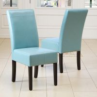 Set of 2 Dining Room Teal Blue Leather Parsons Dining ...