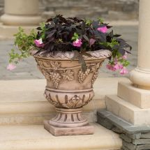 "Large 21"" Brown Stone Roman Decor Outdoor Garden Urn"