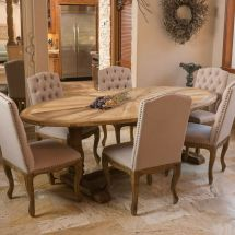 Rustic Elm Wood Oval Dining Table