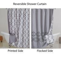 Reversible Fabric Shower Curtain: Gray and White IKAT ...