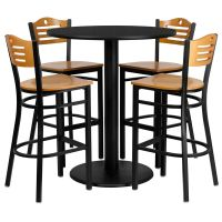 "36"" Round High-Top Restaurant/Cafe/Bar Table and Wood Seat ..."