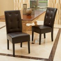 Set of 2 Dining Room Furniture Tufted Brown Leather Dining ...