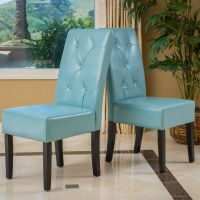 Set of 2 Dining Room Teal Blue Leather Dining Chairs w ...