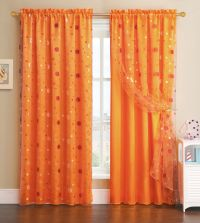 Orange Window Curtain Panel with Circle Design Sheer Top ...