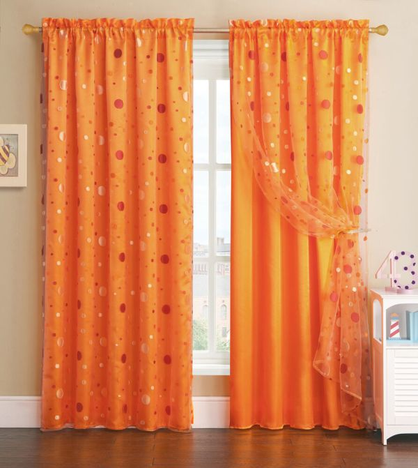 Orange Window Curtain Panel With Circle Design Sheer Top