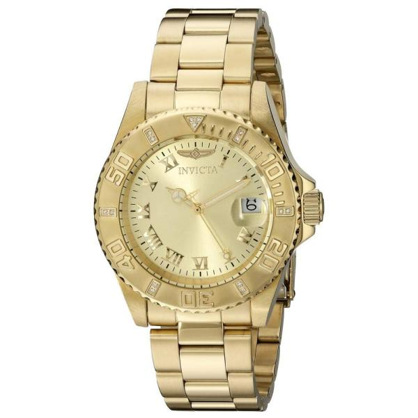 Invicta 12820 Lady' Diamond Accented Bezel Gold Dial Dive