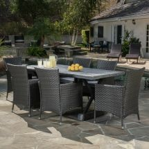 Outdoor 7-piece Grey Dining Set With Cushions