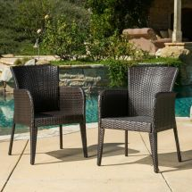 Set Of 2 Contemporary Outdoor Brown Wicker Dining Chair
