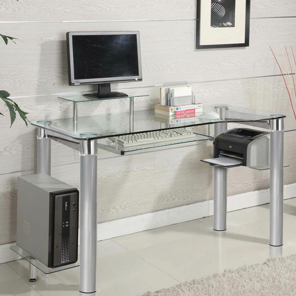 Glass Clear Chrome Silver Chrome Accent Side Shelf