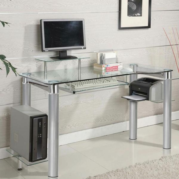 Glass Clear Chrome Silver Accent Side Shelf