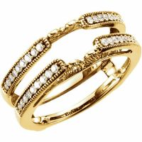 14k Real Yellow Gold .25ct Diamonds Solitaire Ring Guard ...