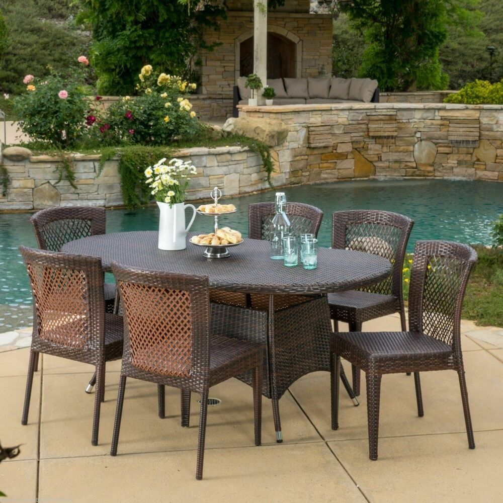 Outdoor Patio Furniture 7pc Multibrown AllWeather Wicker Round Dining Set  eBay