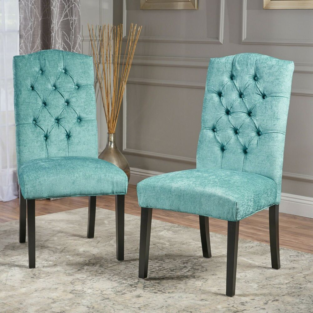 teal tufted chair twin sleeper sofa (set of 2) elegant design green upholstered dining chairs w/ back | ebay