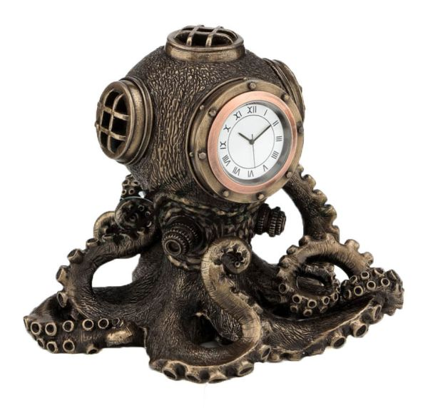 Steampunk Octopus Diving Bell Clock Sculpture Nautical