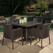 Contemporary Outdoor 5-piece Brown Wicker Dining Set