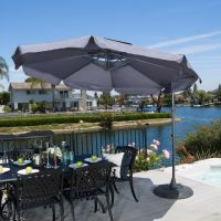 Modern Outdoor Patio Grey Cantilever Canopy Umbrella w ...