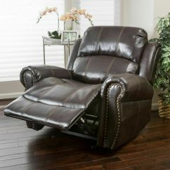 Recliner Club Chair Table Design Traditional Dark Brown Leather Glider | Ebay