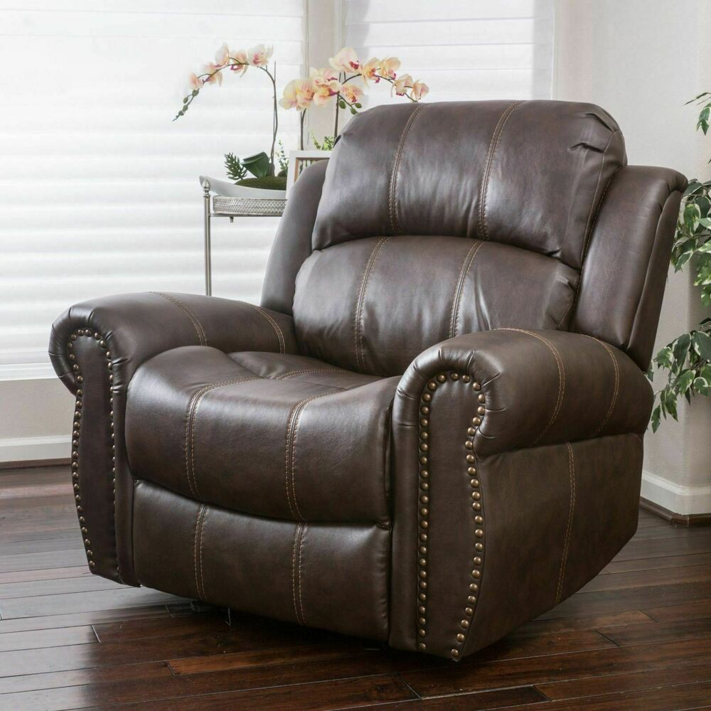Traditional Brown Leather Glider Recliner Club Chair  eBay