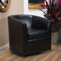 Contemporary Black Leather Swivel Club Chair | eBay