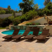 Set Of 4 Luxury Outdoor Patio Furniture Pe Wicker Chaise