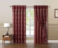Burgundy and Gold Double Layer Embroidered Window Curtain ...