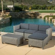 Outdoor 5-piece Grey Wicker Sectional Sofa Set With Black