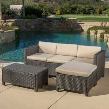 Outdoor 5-piece Dark Brown Wicker Sectional Sofa Set With