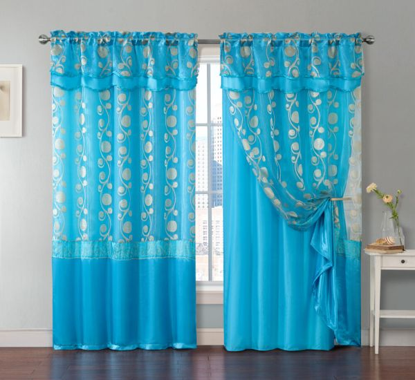 Piece Blue Window Curtain Panel Attached Valance And