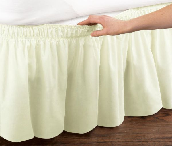 Ivory Elastic Ruffled Bed Skirt Wrap Easy Fit Twin Full Size
