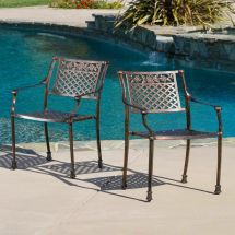 Outdoor Patio Furniture Set Of 2 Copper Cast Aluminum