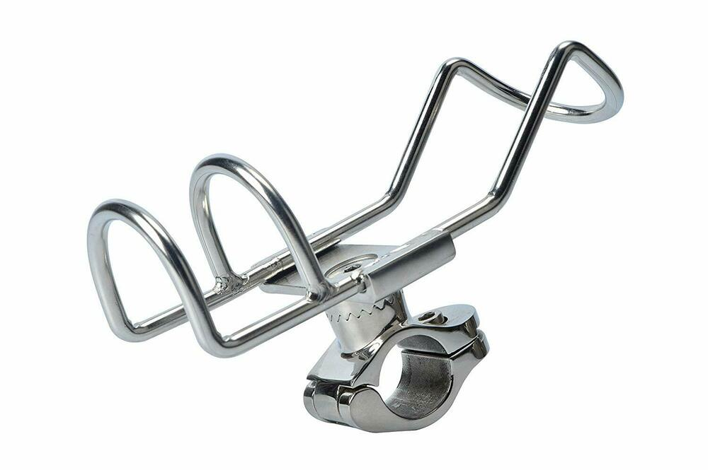 Stainless Rail Mounted Clamp on Rod Holder Double Wire for
