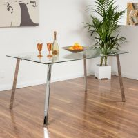 Contemporary Tempered Glass Rectangle Dining Table | eBay