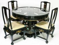 Oriental dining room set dinettes furniture Black lacquer ...