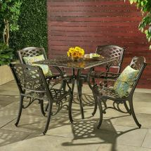 Outdoor 5-piece Cast Aluminum Square Bronze Dining Set